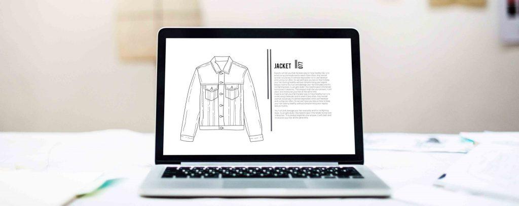 Laptop mit geöffnetem Online Shop.