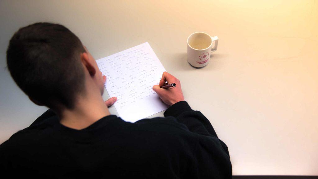 Die Mediengestalter Bild und Ton in einem Filmprojekt, Schreibszene